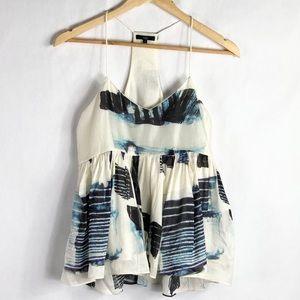 Tibi Oki Print Ruffle Cami silk linen blend top